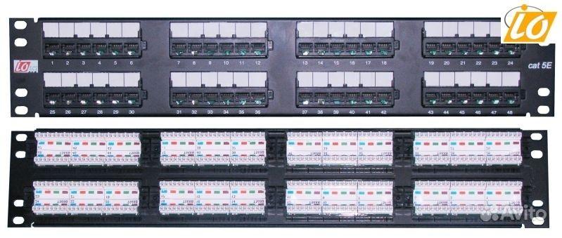 Патч-панель, RJ45, кат.5E, UTP, 48 портов, 2U, тип задних контактов 1