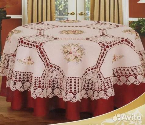 Скатерть льняная вязаная с вышивкой 24