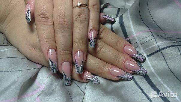 Наращивание ногтей гелем на формах с дизайном