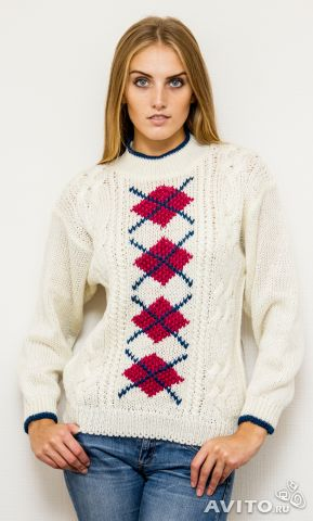Пуловер с ажурными ромбами доставка