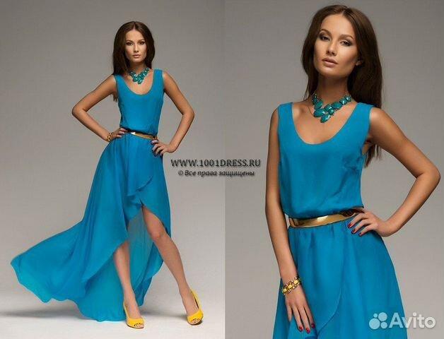 Платье синее спереди короткое сзади длинное
