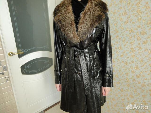 8cd0a2f03a54e Кожаное, женское пальто 44-46р купить в Бурятии на Avito ...