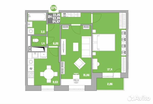 2-к квартира, 55 м², 14/15 эт. 88005506831 купить 2