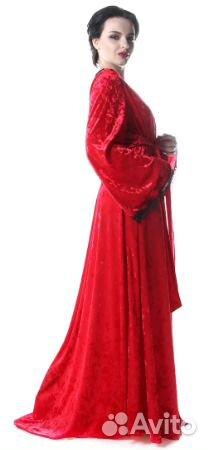 2abd6fa92 Комплект шелковый красный: халат с сорочкой | Festima.Ru ...