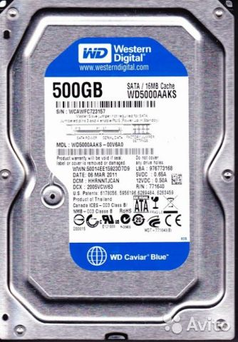 HDD 500GB SATA Blue(WD5000aaks)— фотография №1