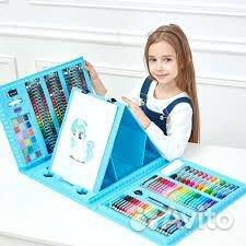 Набор художника 176 предметов С мольбертом голубой 89304019156 купить 2