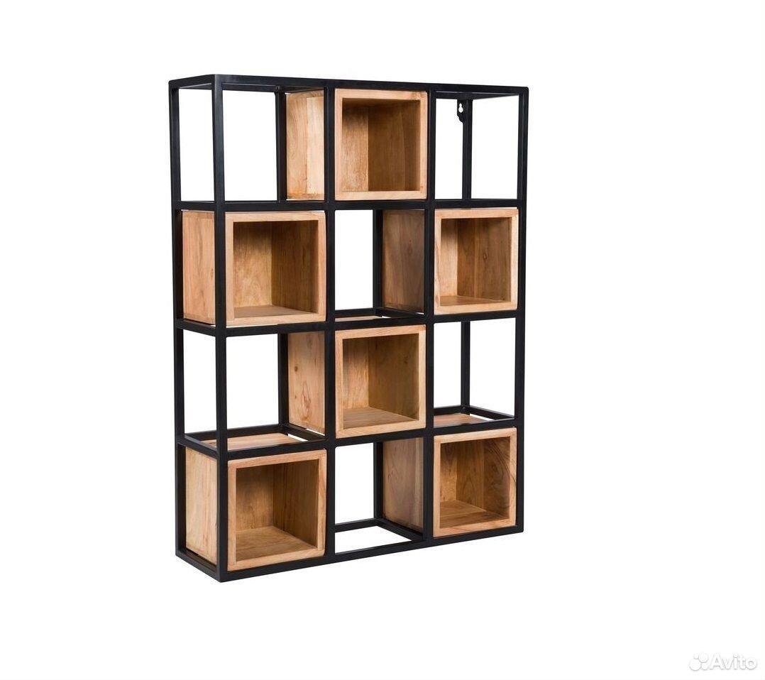 Стеллаж в стиле лофт loft с деревянными ящиками